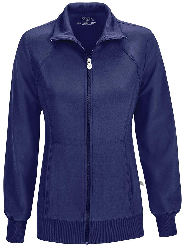 Cherokee Infinity Women's Antimicrobial Warm Up Jacket | Navy - Scrub Pro Uniforms
