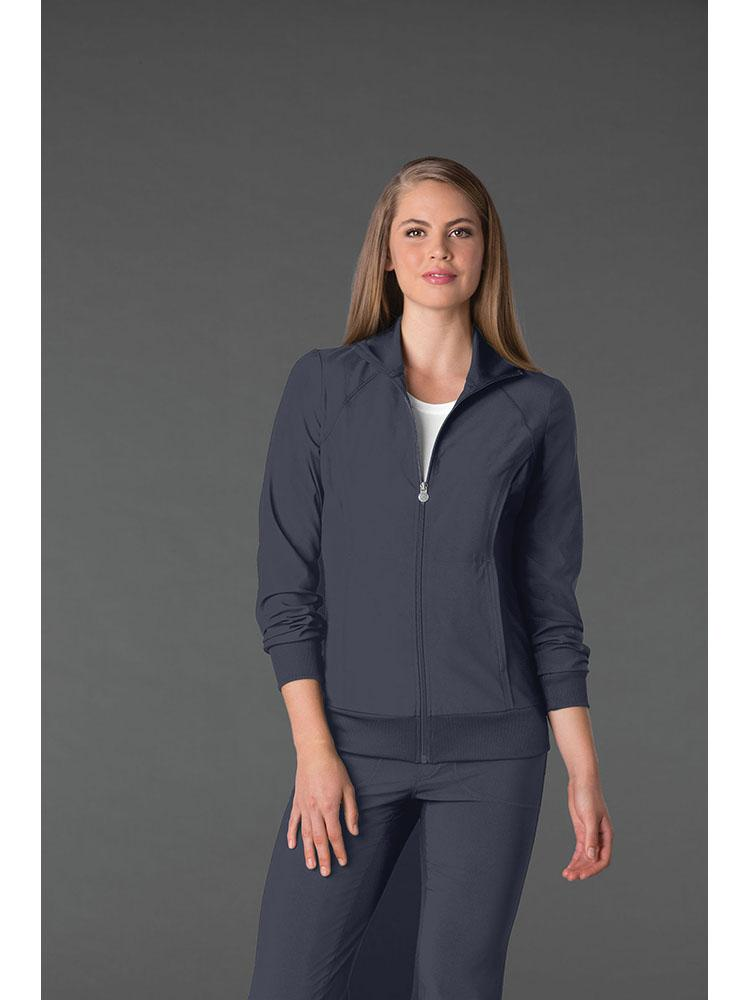 Cherokee Infinity Women's Antimicrobial Warm Up Jacket | Pewter - Scrub Pro Uniforms