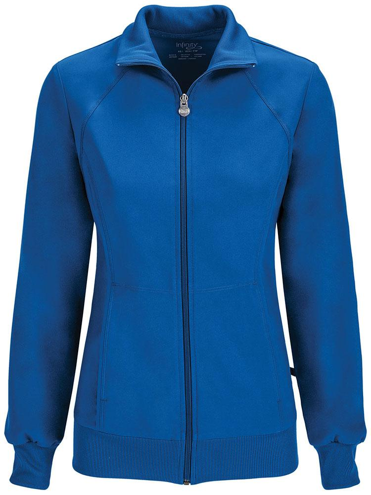 Cherokee Infinity Women's Antimicrobial Warm Up Jacket | Royal - Scrub Pro Uniforms