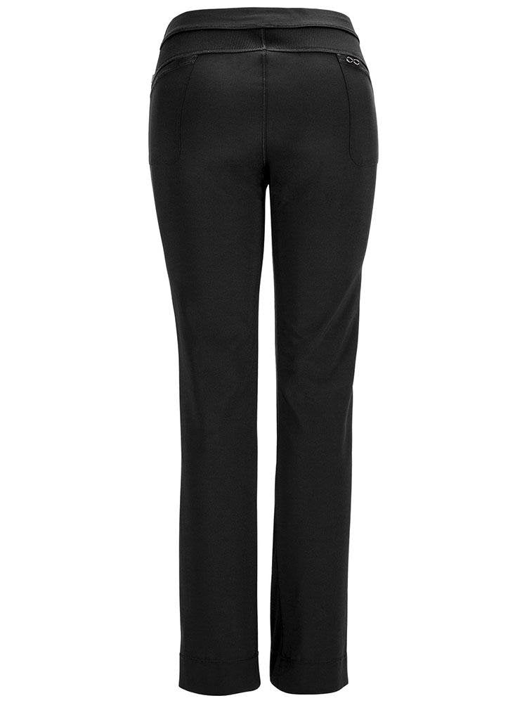 Cherokee Infinity Women's Low-Rise Slim Pull On Scrub Pant | Black - Scrub Pro Uniforms