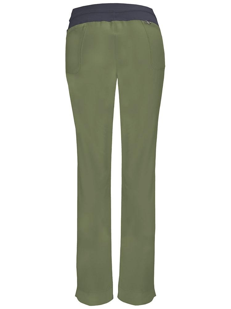 Cherokee Infinity Women's Low-Rise Slim Pull On Scrub Pant | Olive - Scrub Pro Uniforms