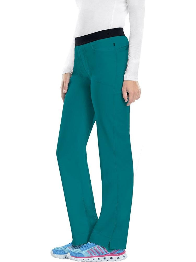 Cherokee Infinity Women's Low-Rise Slim Pull On Scrub Pant | Teal - Scrub Pro Uniforms