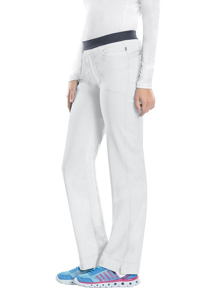 Cherokee Infinity Women's Low-Rise Slim Pull On Scrub Pant | White - Scrub Pro Uniforms