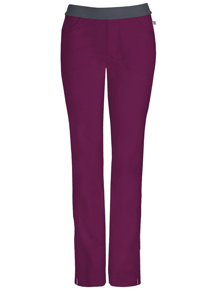 Cherokee Infinity Women's Low-Rise Slim Pull On Scrub Pant | Wine - Scrub Pro Uniforms