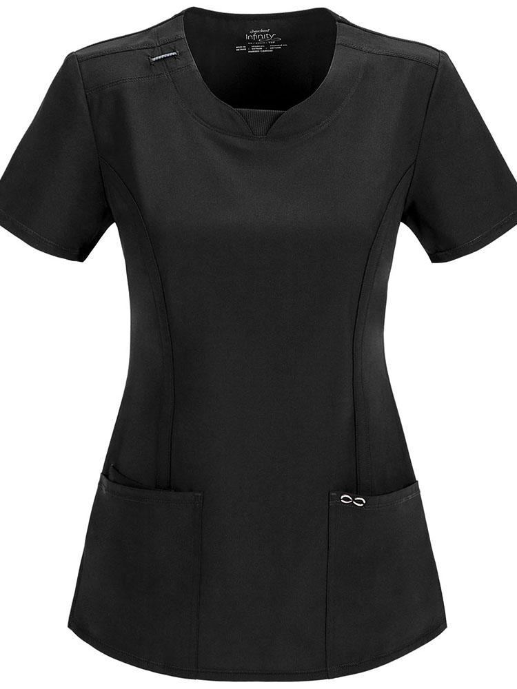 Cherokee Infinity Women's Round Neck Scrub Top | Black - Scrub Pro Uniforms