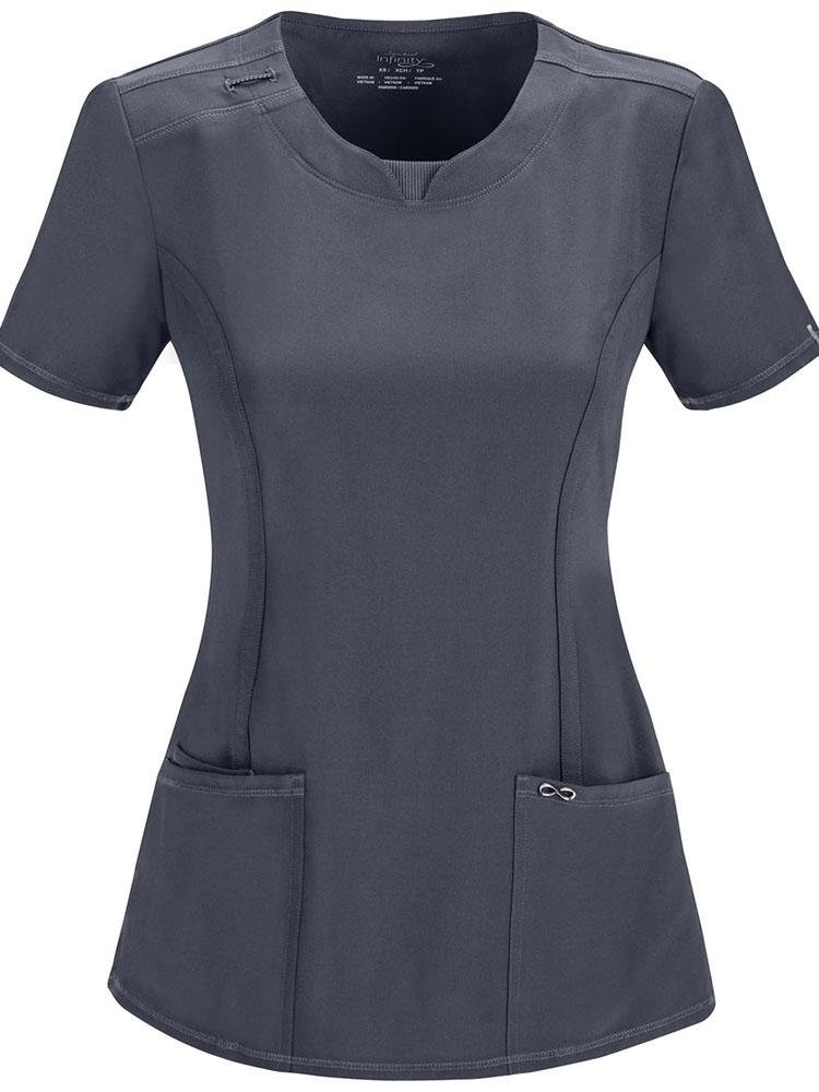 Cherokee Infinity Women's Round Neck Scrub Top | Pewter - Scrub Pro Uniforms
