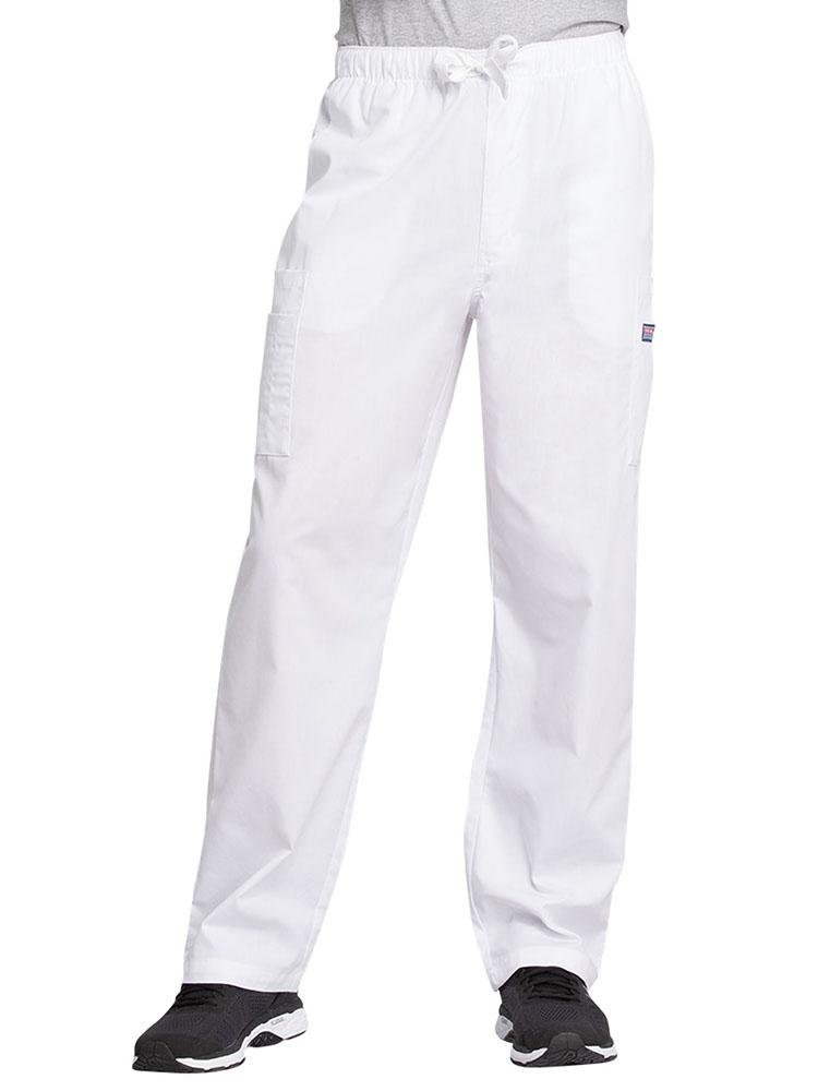 Cherokee Workwear Originals Men's Drawstring Cargo Scrub Pant | White - Scrub Pro Uniforms