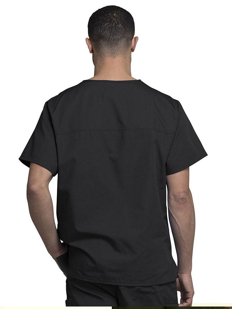 Cherokee Workwear Originals Men's Solid V-Neck Scrub Top | Black - Scrub Pro Uniforms