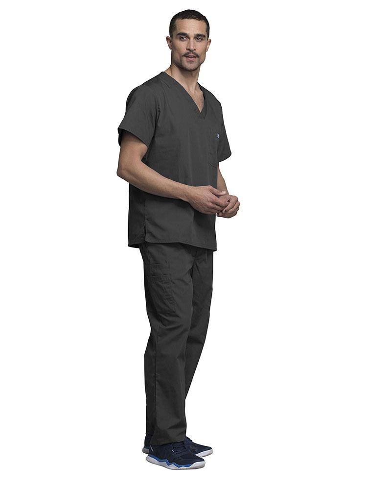 Cherokee Workwear Originals Men's Solid V-Neck Scrub Top | Pewter - Scrub Pro Uniforms