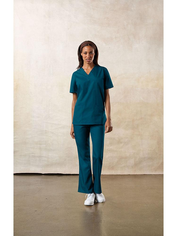 Cherokee Workwear Originals Unisex Multi-Pocketed V-Neck Scrub Top | Caribbean - Scrub Pro Uniforms