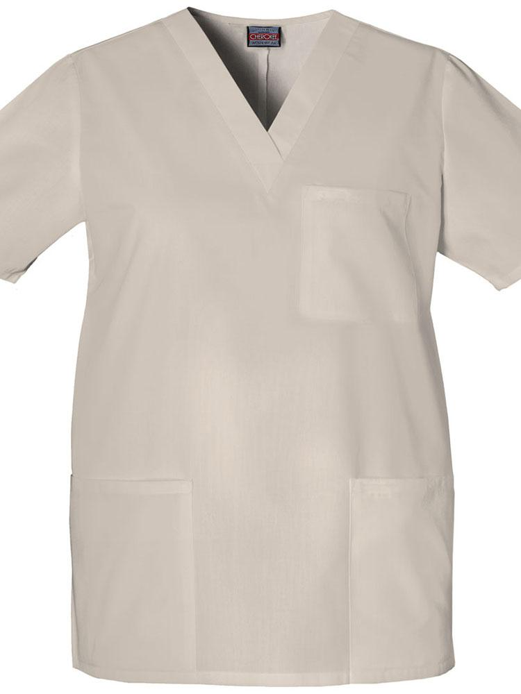 Cherokee Workwear Originals Unisex Multi-Pocketed V-Neck Scrub Top | Khaki - Scrub Pro Uniforms