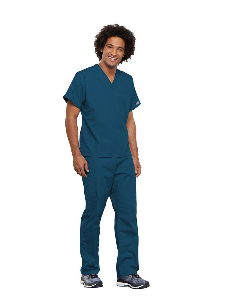 Cherokee Workwear Originals Unisex Single Pocket V-Neck Scrub Top | Caribbean - Scrub Pro Uniforms