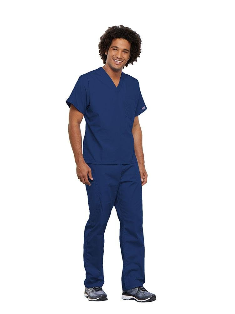 Cherokee Workwear Originals Unisex Single Pocket V-Neck Scrub Top | Galaxy Blue - Scrub Pro Uniforms