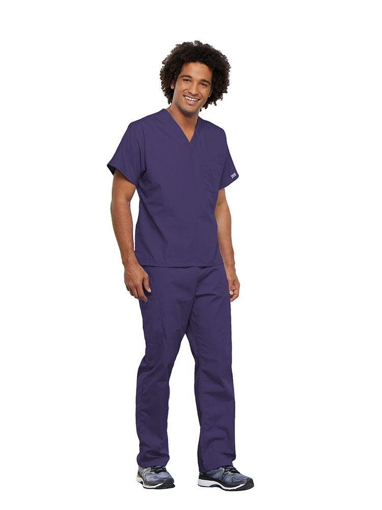 Cherokee Workwear Originals Unisex Single Pocket V-Neck Scrub Top | Grape - Scrub Pro Uniforms