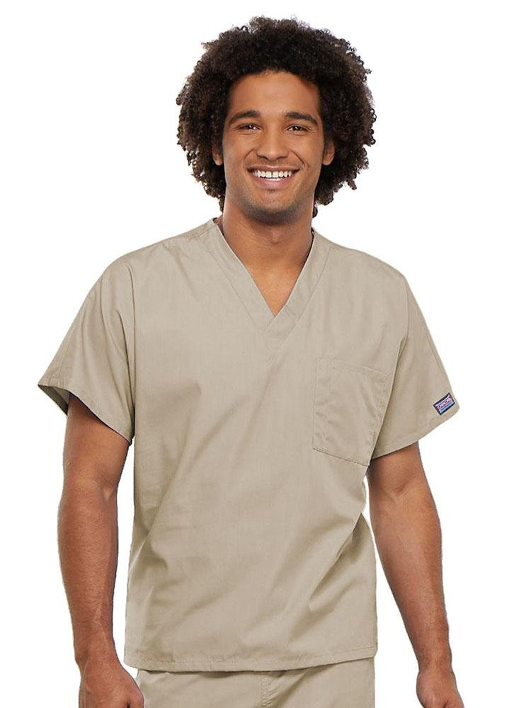 Cherokee Workwear Originals Unisex Single Pocket V-Neck Scrub Top | Khaki - Scrub Pro Uniforms