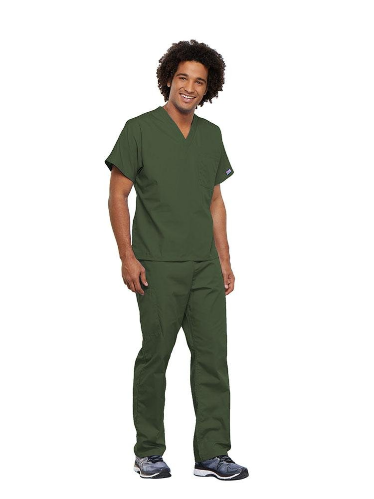 Cherokee Workwear Originals Unisex Single Pocket V-Neck Scrub Top | Olive - Scrub Pro Uniforms