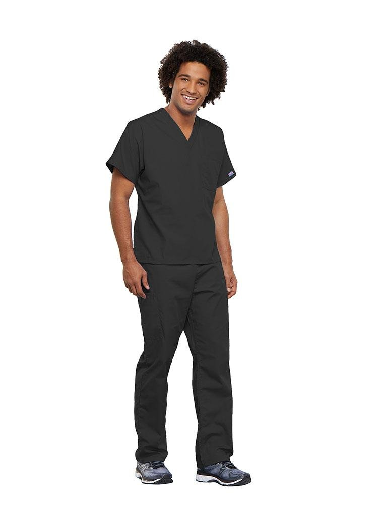 Cherokee Workwear Originals Unisex Single Pocket V-Neck Scrub Top | Pewter - Scrub Pro Uniforms