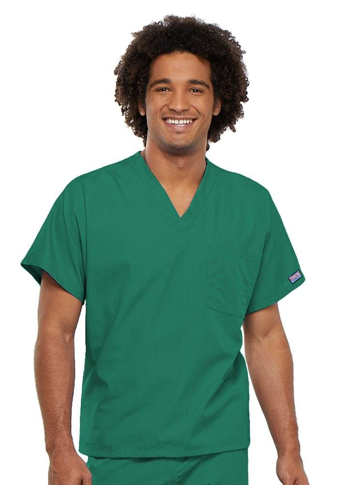 Cherokee Workwear Originals Unisex Single Pocket V-Neck Scrub Top | Surgical Green - Scrub Pro Uniforms