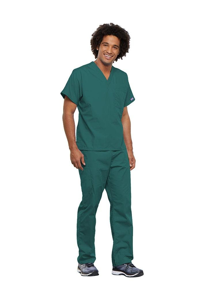 Cherokee Workwear Originals Unisex Single Pocket V-Neck Scrub Top | Teal - Scrub Pro Uniforms