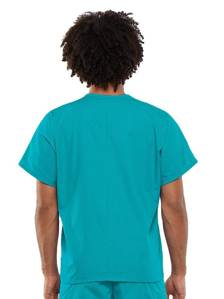 Cherokee Workwear Originals Unisex Single Pocket V-Neck Scrub Top | Turquoise - Scrub Pro Uniforms
