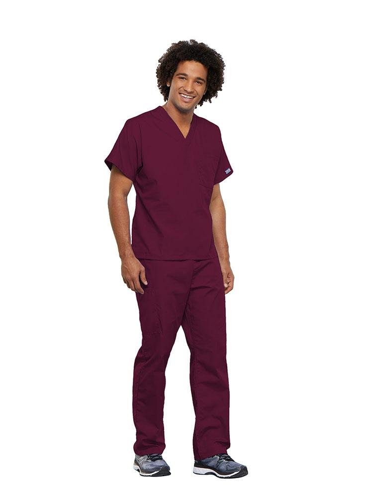 Cherokee Workwear Originals Unisex Single Pocket V-Neck Scrub Top | Wine - Scrub Pro Uniforms
