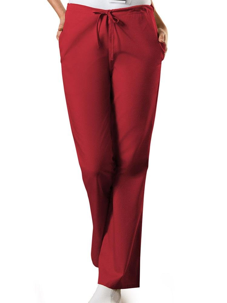 Cherokee Workwear Originals Women's Drawstring Flare Leg Scrub Pant | Red - Scrub Pro Uniforms