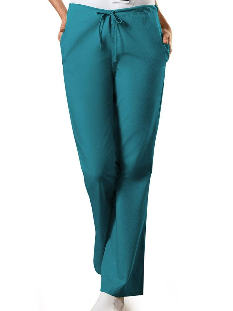Cherokee Workwear Originals Women's Drawstring Flare Leg Scrub Pant | Teal - Scrub Pro Uniforms