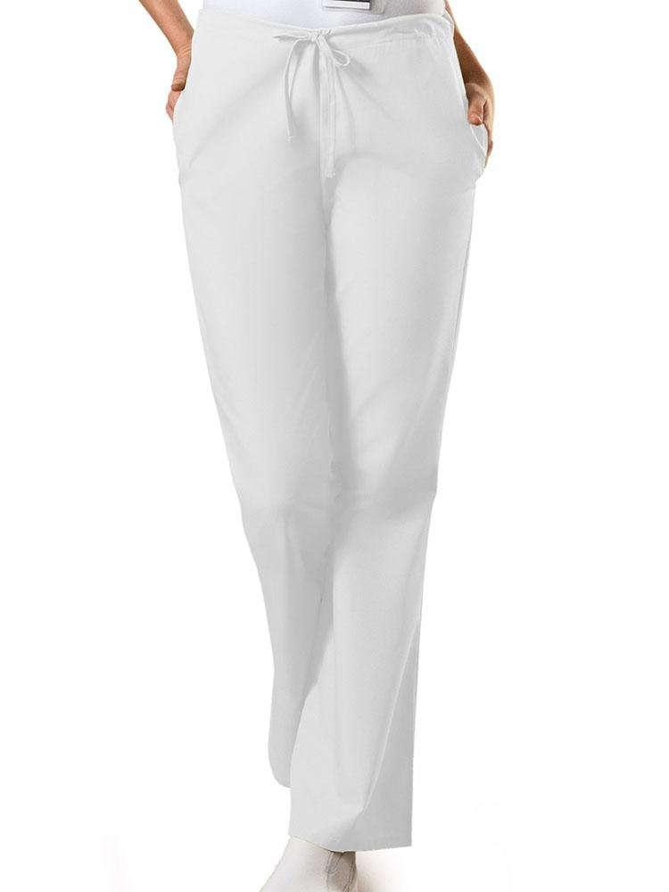 Cherokee Workwear Originals Women's Drawstring Flare Leg Scrub Pant | White - Scrub Pro Uniforms