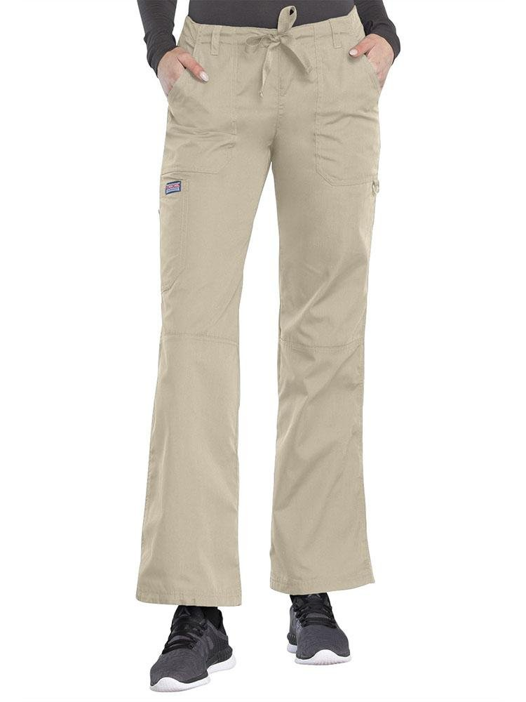 Cherokee Workwear Originals Women's Low-Rise Drawstring Scrub Pant | Khaki - Scrub Pro Uniforms
