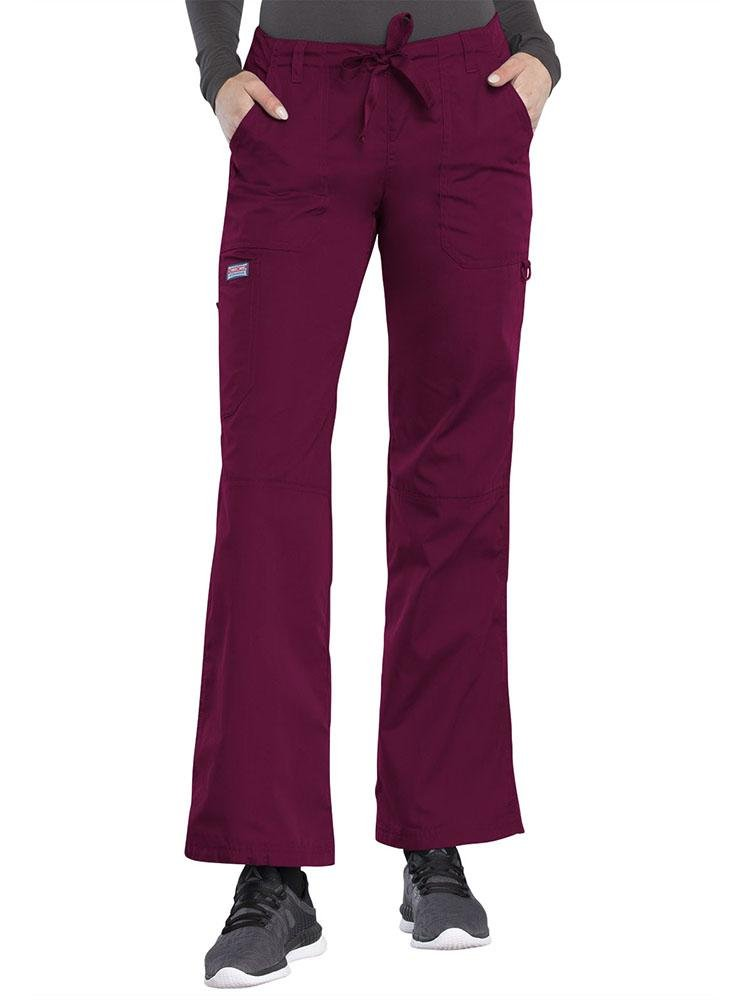 Cherokee Workwear Originals Women's Low-Rise Drawstring Scrub Pant | Wine - Scrub Pro Uniforms