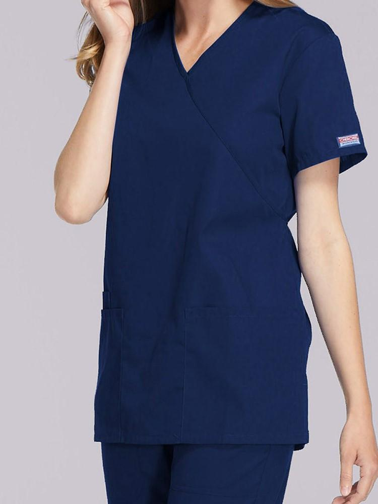 Cherokee Workwear Originals Women's Mock Wrap Solid Scrub Top | Navy - Scrub Pro Uniforms