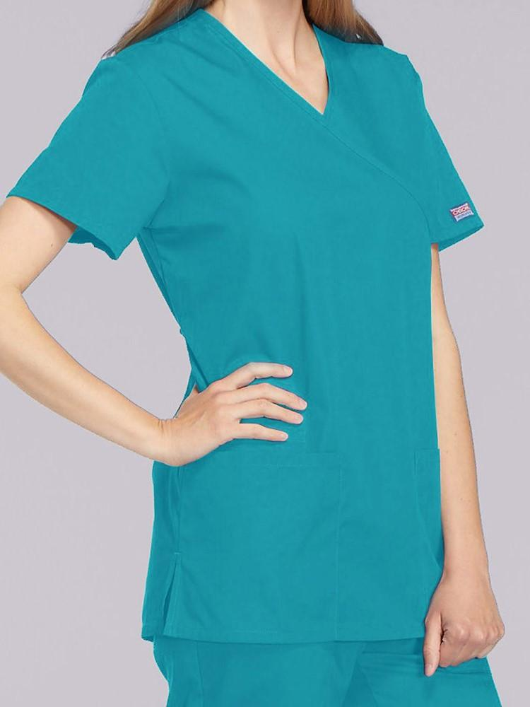 Cherokee Workwear Originals Women's Mock Wrap Solid Scrub Top | Teal - Scrub Pro Uniforms