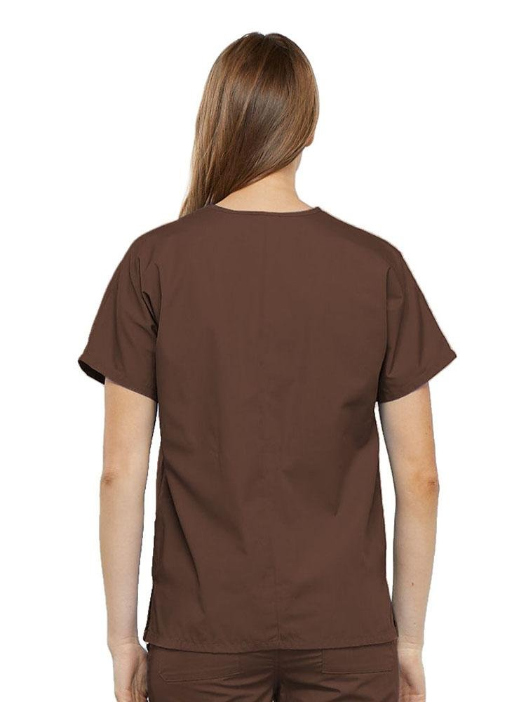 Cherokee Workwear Originals Women's Multi-Pocketed V-Neck Scrub Top | Chocolate - Scrub Pro Uniforms