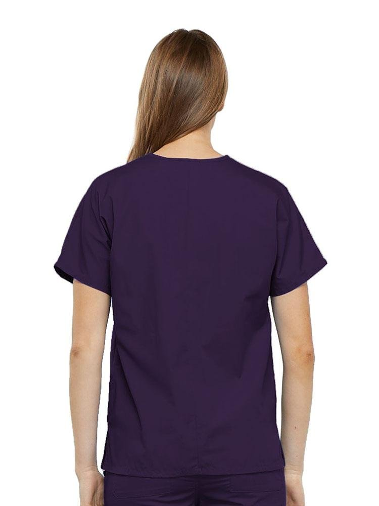 Cherokee Workwear Originals Women's Multi-Pocketed V-Neck Scrub Top | Eggplant - Scrub Pro Uniforms