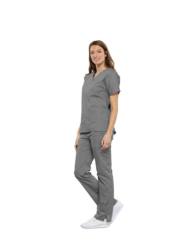 Cherokee Workwear Originals Women's Multi-Pocketed V-Neck Scrub Top | Grey - Scrub Pro Uniforms