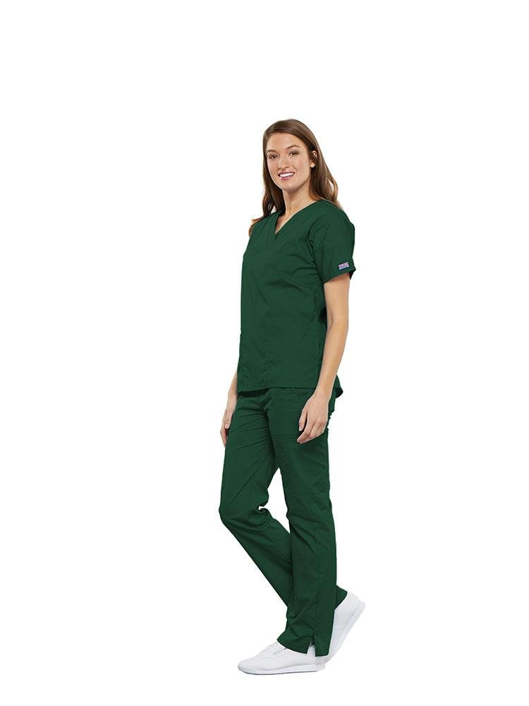 Cherokee Workwear Originals Women's Multi-Pocketed V-Neck Scrub Top | Hunter - Scrub Pro Uniforms