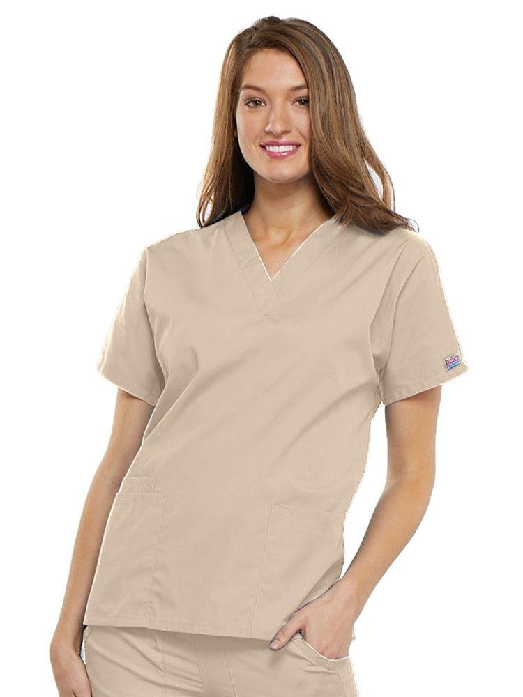 Cherokee Workwear Originals Women's Multi-Pocketed V-Neck Scrub Top | Khaki - Scrub Pro Uniforms