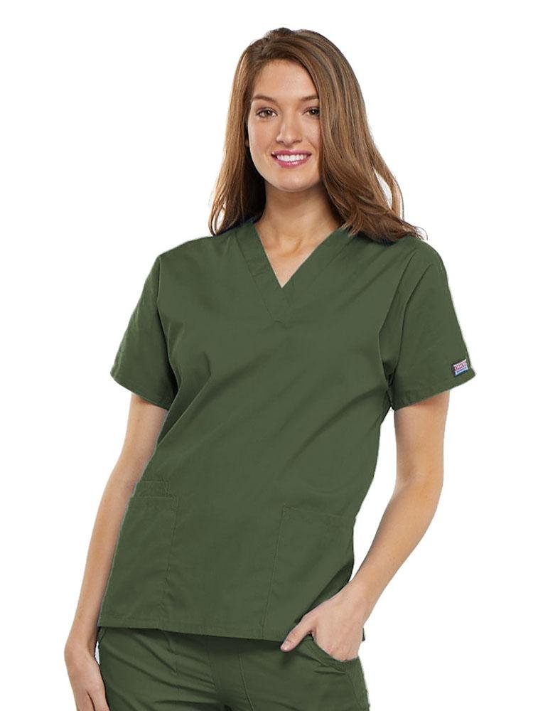 Cherokee Workwear Originals Women's Multi-Pocketed V-Neck Scrub Top | Olive - Scrub Pro Uniforms
