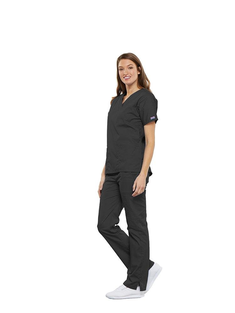 Cherokee Workwear Originals Women's Multi-Pocketed V-Neck Scrub Top | Pewter - Scrub Pro Uniforms