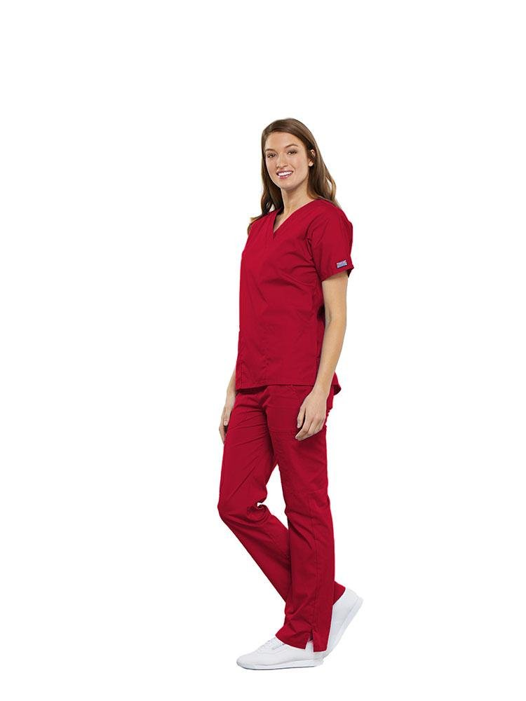 Cherokee Workwear Originals Women's Multi-Pocketed V-Neck Scrub Top | Red - Scrub Pro Uniforms