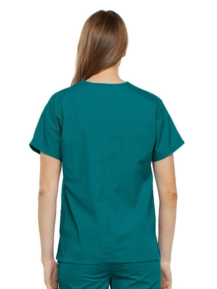 Cherokee Workwear Originals Women's Multi-Pocketed V-Neck Scrub Top | Teal - Scrub Pro Uniforms