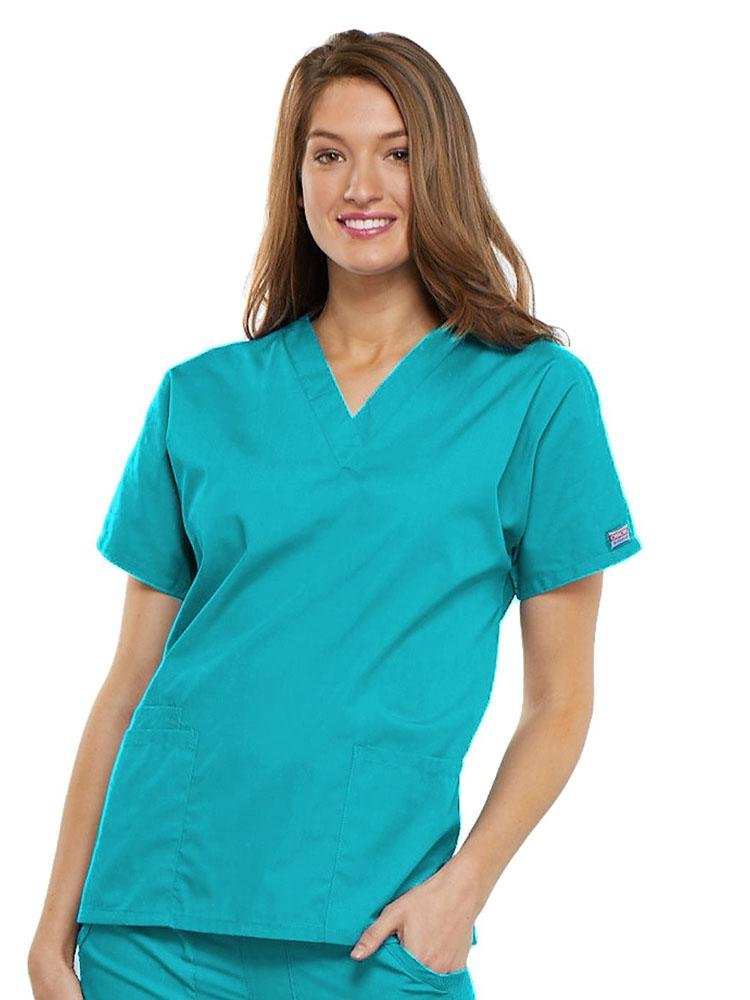Cherokee Workwear Originals Women's Multi-Pocketed V-Neck Scrub Top | Turquoise - Scrub Pro Uniforms