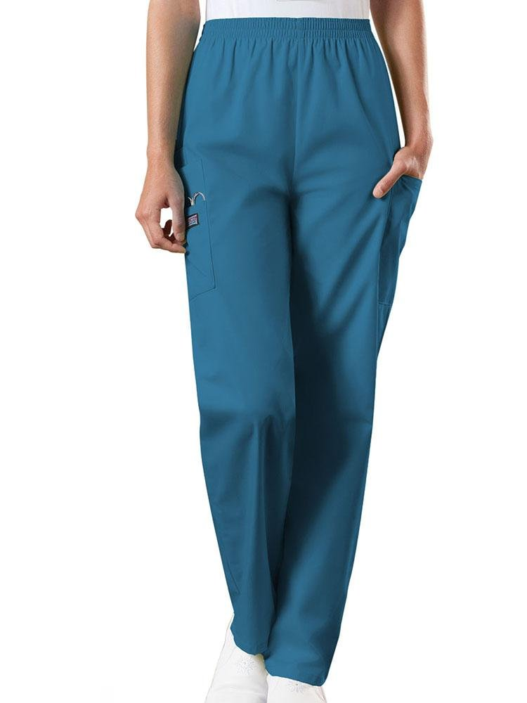 Cherokee Workwear Originals Women's Natural Rise Tapered Pull-On Scrub Pant | Caribbean - Scrub Pro Uniforms