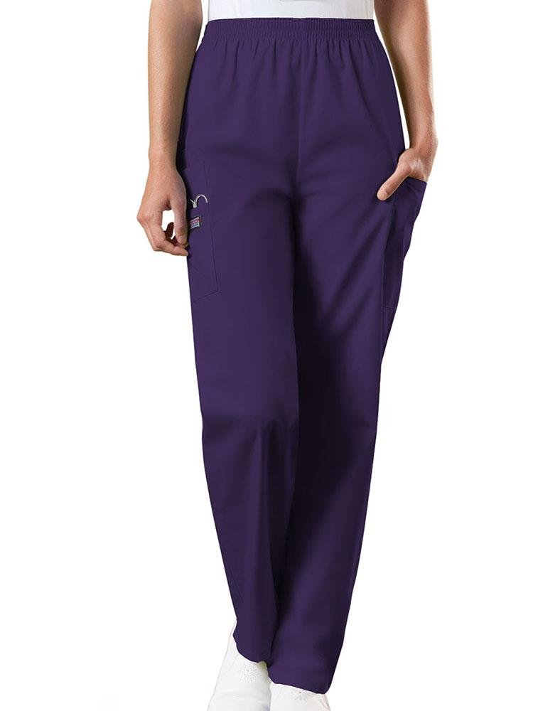 Cherokee Workwear Originals Women's Natural Rise Tapered Pull-On Scrub Pant | Eggplant - Scrub Pro Uniforms