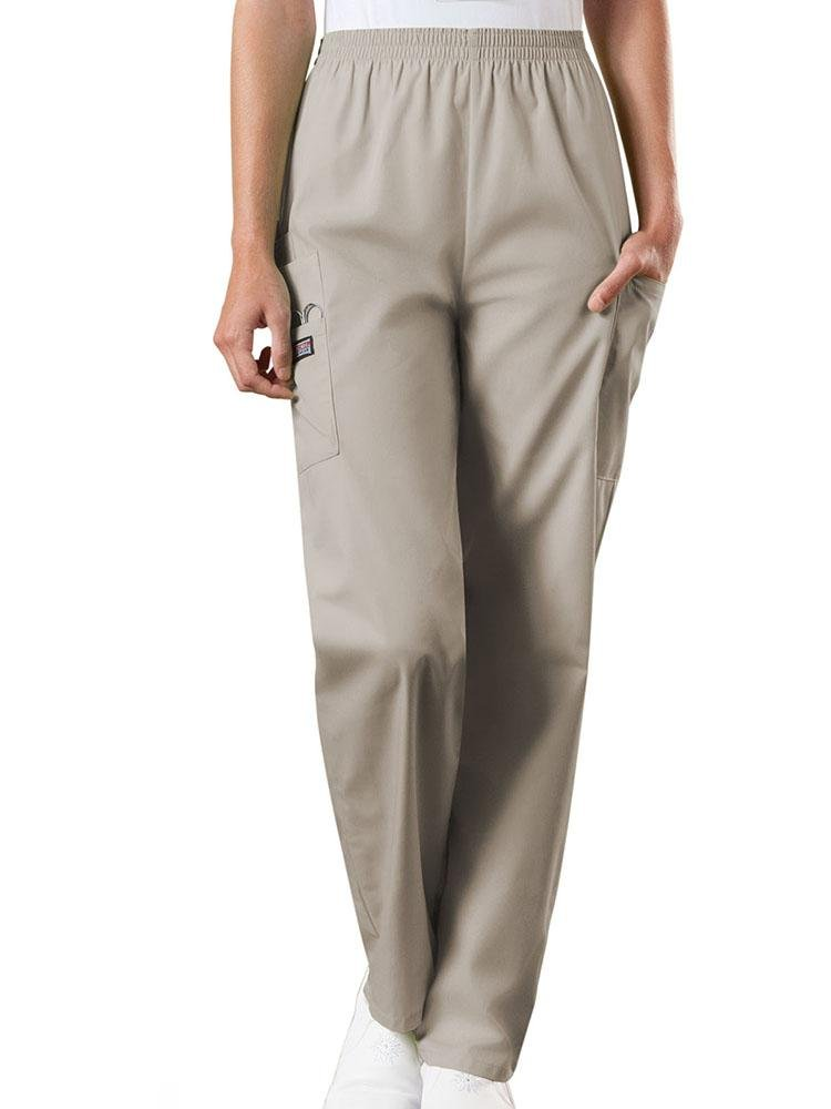 Cherokee Workwear Originals Women's Natural Rise Tapered Pull-On Scrub Pant | Khaki - Scrub Pro Uniforms