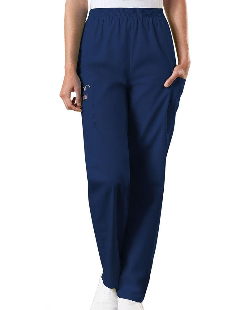 Cherokee Workwear Originals Women's Natural Rise Tapered Pull-On Scrub Pant | Navy - Scrub Pro Uniforms