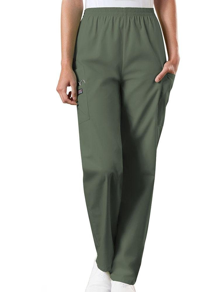 Cherokee Workwear Originals Women's Natural Rise Tapered Pull-On Scrub Pant | Olive - Scrub Pro Uniforms