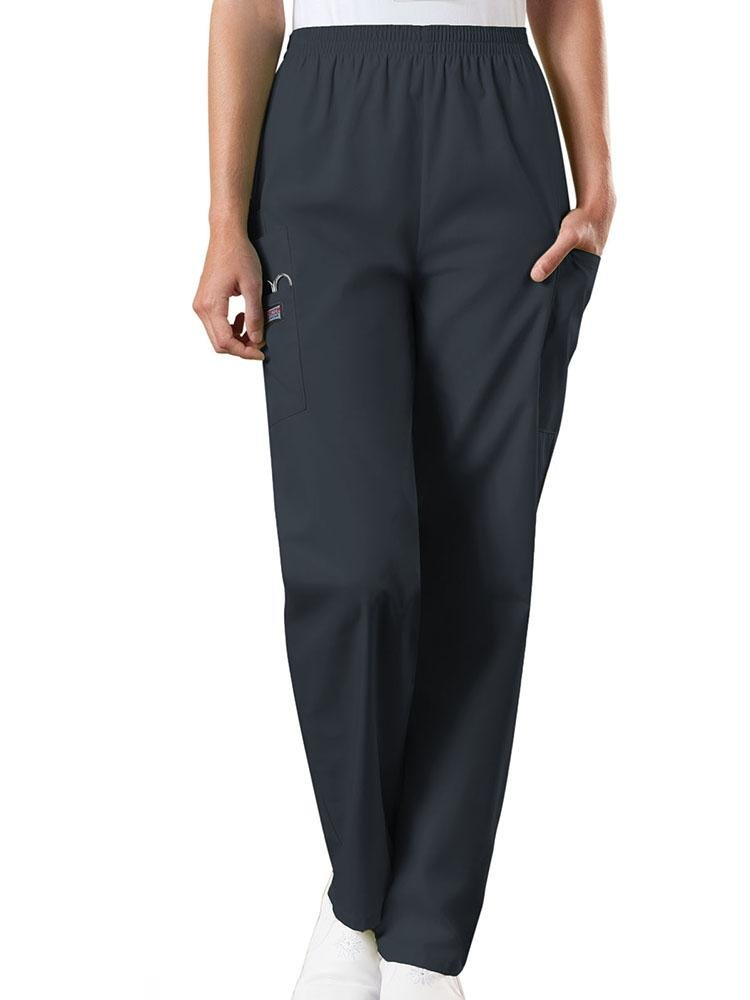 Cherokee Workwear Originals Women's Natural Rise Tapered Pull-On Scrub Pant | Pewter - Scrub Pro Uniforms