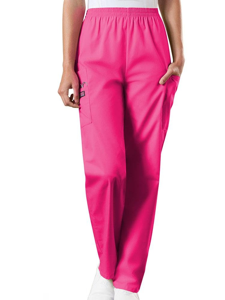 Cherokee Workwear Originals Women's Natural Rise Tapered Pull-On Scrub Pant | Shocking Pink - Scrub Pro Uniforms