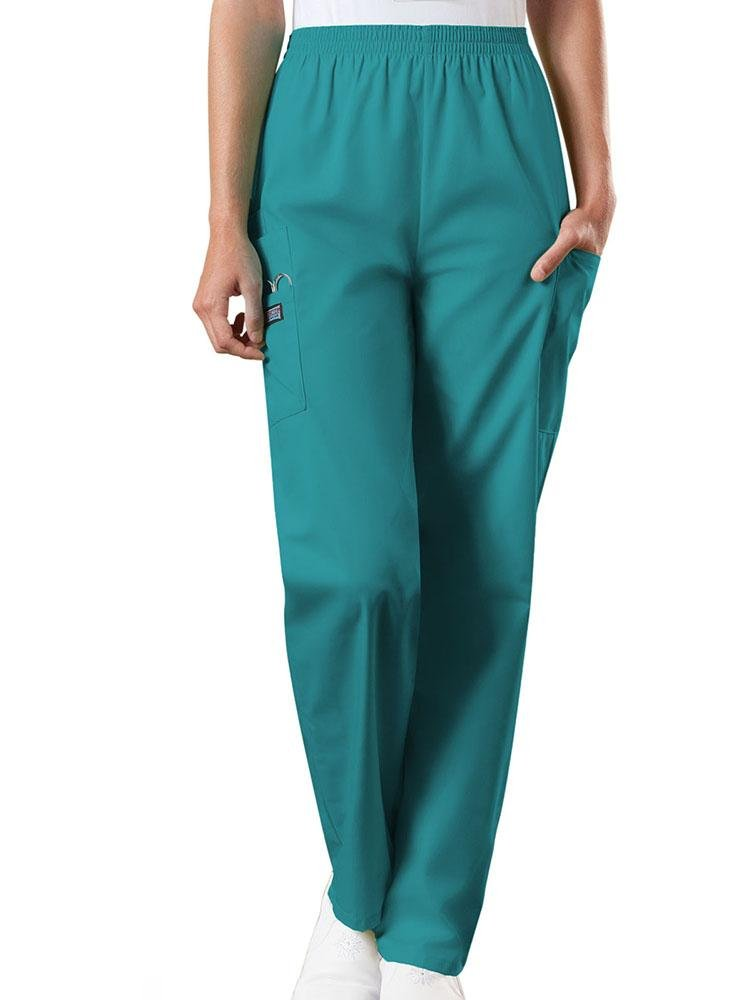 Cherokee Workwear Originals Women's Natural Rise Tapered Pull-On Scrub Pant | Teal - Scrub Pro Uniforms